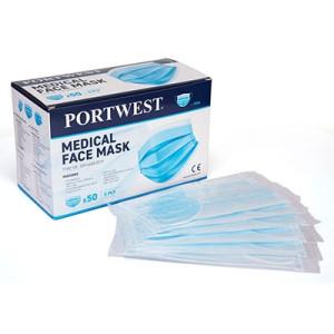 3-slojna zaščitne maske za obraz – medicinska maska Tip IIR Portwest P029, 50 kos